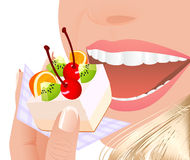 Beautiful young woman eating fruit cake. Illustration, AI file included Stock Images