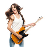 Beautiful young woman with electric guitar Royalty Free Stock Photo