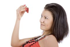 Beautiful young woman enjoy strawberry Royalty Free Stock Image