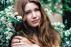 Beautiful young woman enjoying smell Royalty Free Stock Photography