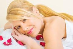 Beautiful young woman enjoying spa treatment Royalty Free Stock Photos