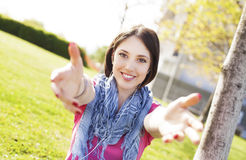 Beautiful young woman enjoying sunny day. Stock Image