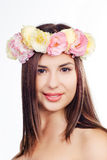 Beautiful young woman with eustoma flowers Stock Photo