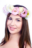 Beautiful young woman with eustoma flowers Stock Images