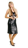 Beautiful young woman in evening gown Stock Photography