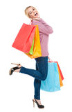 Beautiful Young Woman Excited with Shopping Bags stock image