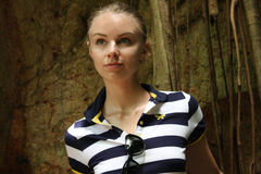 The beautiful young woman at excursion Royalty Free Stock Photos