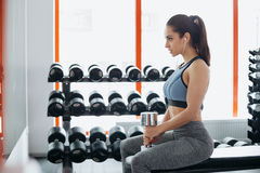 Beautiful young woman exercising with dumbbell in the gym. stock image