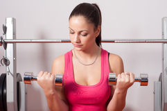 Beautiful young woman exercising with dumbbells Stock Images