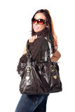 Beautiful Young Woman - With Expensive Bag Royalty Free Stock Images