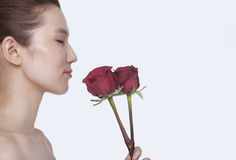Beautiful young woman with eyes closed smelling a red rose, studio shot Stock Photos