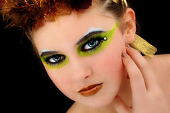 Beautiful Young Woman Face Artsitic Cosmetics Stock Photos