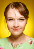 Beautiful young woman face. Close up. Stock Image