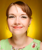 Beautiful young woman face. Close up. Royalty Free Stock Photography