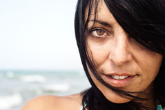 Beautiful Young Woman Face. Close-up Stock Photography