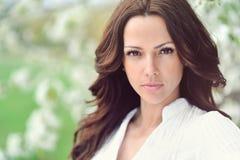 Beautiful young woman face closeup - perfect skin Stock Photos