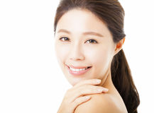 Beautiful young  woman face isolated on white Stock Images