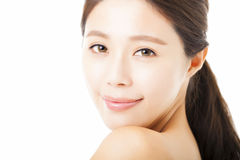 Beautiful young  woman face isolated on white Royalty Free Stock Photos