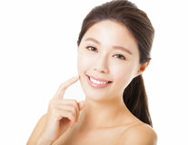 Beautiful young  woman face isolated on white Stock Photography