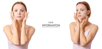 Beautiful young woman on face mask beauty set pattern. On white background isolation royalty free stock photography