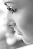 Beautiful young woman face profile close-up Stock Photos