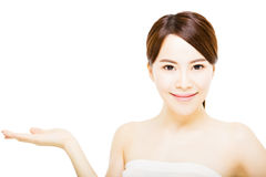 beautiful young  woman  face with showing gesture Royalty Free Stock Image