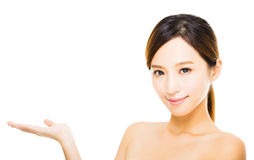Beautiful young  woman  face with showing gesture Stock Photos