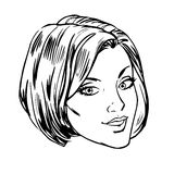 Beautiful young woman face smile retro line art Royalty Free Stock Images