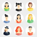 Beautiful young woman faces in flat style. Set of nine different vector beautiful young woman faces in flat style showing diversity of clothing  hair color Stock Images
