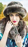 Beautiful young woman wearing fur.  Stock Images