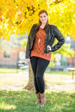 Beautiful young woman in the fall Stock Photos