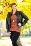 Beautiful young woman in the fall Royalty Free Stock Photo