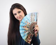 Beautiful Young Woman With A Fan In Her Hand Royalty Free Stock Photography
