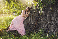 Beautiful young woman in a fantasy dress lying on a big tree. Trunk in the sunlight Stock Images