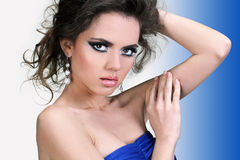 Beautiful young woman, fashion make up, care Royalty Free Stock Photos