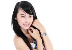 Beautiful young woman fashion model posing Stock Image