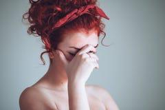 Beautiful young woman feeling emotional. Portrait of beautiful young woman feeling emotional Royalty Free Stock Image