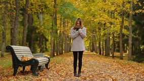 Beautiful young woman feels cold while standing near a bench in autumn park. Gorgeous girl stands near a wooden bench in a picturesque autumn park, dressed in stock video footage