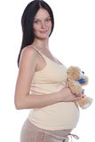 Beautiful young woman. Female pregnant - young woman in studio royalty free stock photography