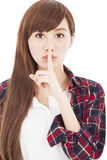Beautiful young woman with finger on lips Stock Photos
