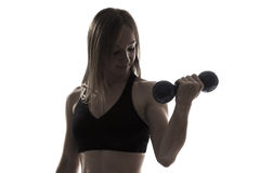 Beautiful young woman fitness dumbbells portrait Royalty Free Stock Photo