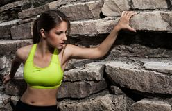 Beautiful young woman in fitwear climbing Stock Image