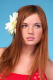 Beautiful young woman with flower Royalty Free Stock Images