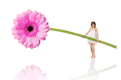 Beautiful young woman with a flower Stock Photography