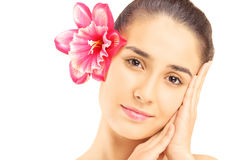 Beautiful young woman with flower in her hair isolated on white. Background Stock Photography