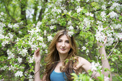 Beautiful young woman with flowers Royalty Free Stock Photography