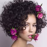 Beautiful young woman with flowers in her hair. Studio fashion photo of beautiful young woman with flowers in her mouth and hair.  Valentines day. Spring blossom Royalty Free Stock Images