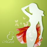 Beautiful young woman with flowers. Women's Day Greeting Card. Beautiful young woman with flowers Royalty Free Stock Photo