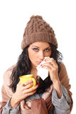 Beautiful young woman with flu symptom stock photography