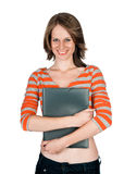 Beautiful young woman with a folder Royalty Free Stock Images